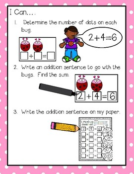 Lovebug Addition--Write & Wipe Center for Your K-2 Class