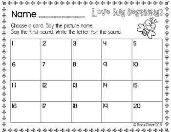 Lovebug Beginning Sound CVC Valentine's Day File Folder Game Literacy Center