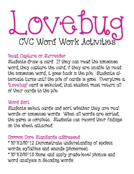Lovebug - CVC Word Work Activities
