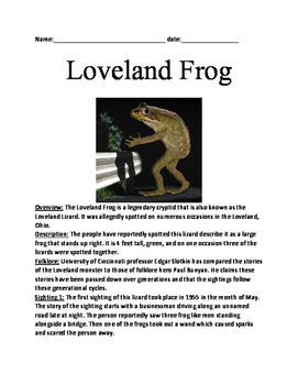 Loveland Monster - Lizard Cryptid Lesson article questions word search