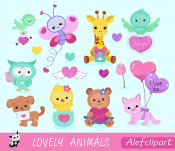 Lovely Animals Valentine Clipart,- Digital Clipart Set,