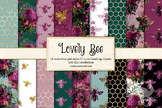Lovely Bee seamless digital paper, patterns, backgrounds, gold glitter