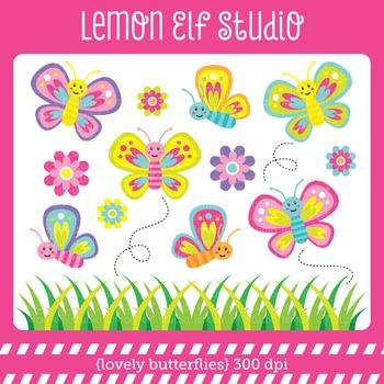Lovely Butterflies-Digital Clipart (LES.CL012)