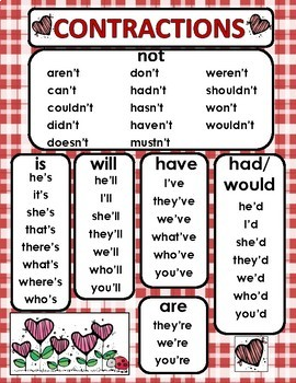 Contractions Center Activities for Valentines