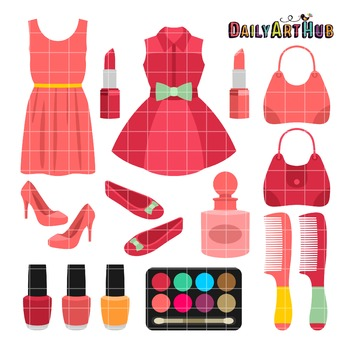 Lovely Fashion Set Clip Art - Great for Art Class Projects!