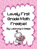 """Love""ly First Grade Math Freebie"