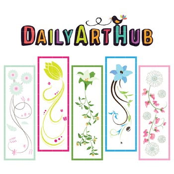 Lovely Floral Bookmarks Clip Art - Great for Art Class Projects!