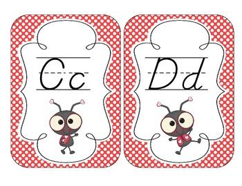 Lovely Ladybug Alphabet Cards: D'Nealian Version