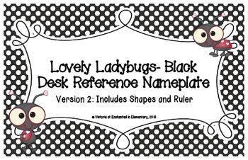Lovely Ladybug Black Desk Reference Nameplates Version 2