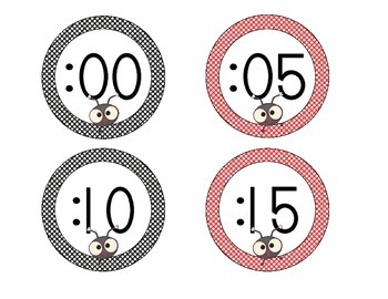 Lovely Ladybug Clock Numbers: Black and Red Set
