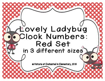 Lovely Ladybug Clock Numbers: Red Set