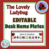 Name Tags EDITABLE Desk Name Plates - Ladybug