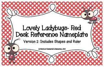 Lovely Ladybug Red Desk Reference Nameplates Version 2