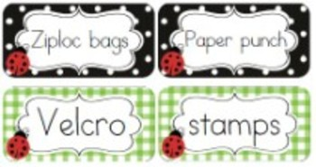 Classroom Decor Lovely Ladybugs Avery Sticky Labels - Print-Editable