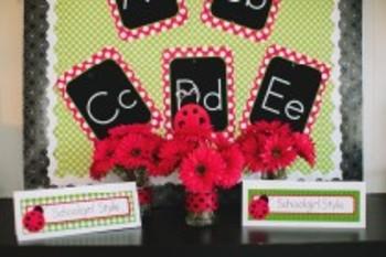 Classroom Decor Lovely Ladybugs Book Basket Labels - Print
