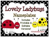 Lovely Ladybugs Nameplates Editable Bundle