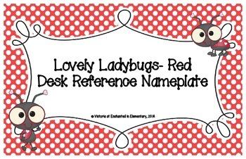 Lovely Ladybug Red Desk Reference Nameplates