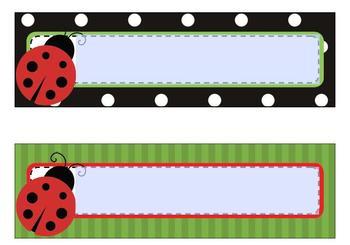Classroom Decor Lovely Ladybugs Nameplates -Editable-Print