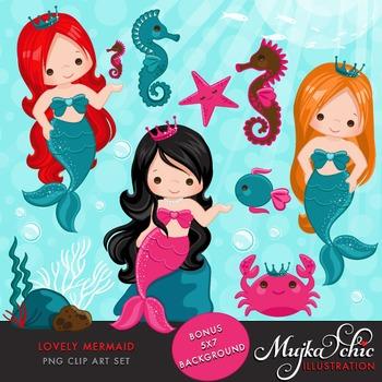 Lovely Little Mermaid Clipart by MUJKA