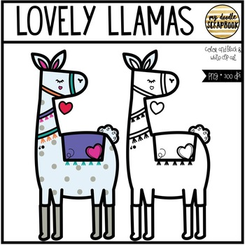 Lovely Llamas - Valentine's Day (Clip Art for Personal & Commercial Use)