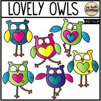 Lovely Owls Clip Art - Valentine's Day (Clip Art for Personal & Commercial Use)