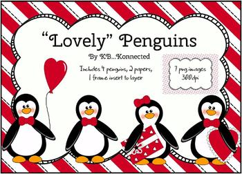 """Lovely"" Penguins Clip Art  for Valentine's Day ~CU OK!"