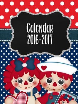 Lovely Raggedies 2016-17 Calendar