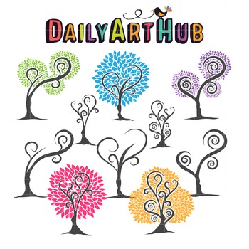 Lovely Trees Clip Art - Great for Art Class Projects!