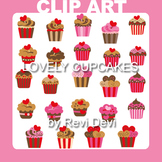 Cupcake clip art - Lovely cupcakes clipart (teacher resource) red, pink, brown