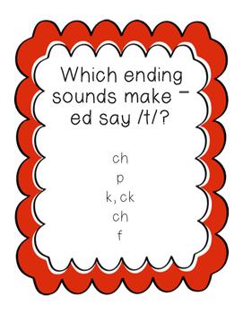Lovely -ed ending phonics sliders