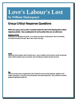 Love's Labour's Lost - Shakespeare - Group Critical Response Questions