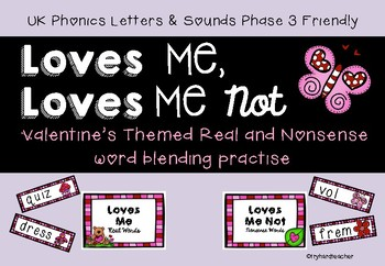 Phase 3 Valentine's nonsense word blending UK Phonics