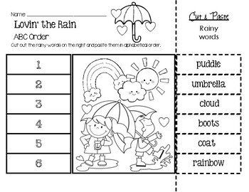 Lovin' the Rain ABC Order Worksheet