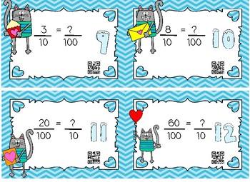 Loving Decimal Tenths and Hundredths Valentine/Cat QR Task Cards