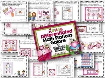 Valentine's Differentiated Math Stations Galore-13 Aligned  Stations