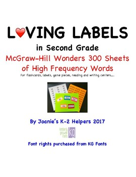 Loving Labels in Second Grade McGraw-Hill Sight Words