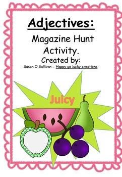 Adjective Magazine Hunt: Literacy group activity