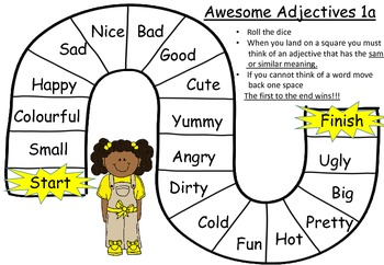Adjectives board games:literacy group activity