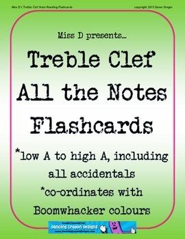 Low A - High A Treble Clef Staff Flashcards