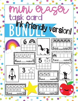 Low Ink Version- Mini Eraser Task Box Math Bundle