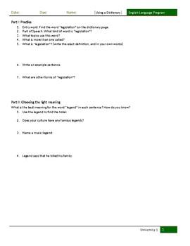 Low Intermediate Reading Skill: Dictionary Use (Worksheet)