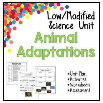 Low / Modified Animal Adaptations Unit – Includes Plan, Activities, Sheets, Test