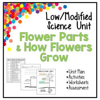 Low / Modified Flower Parts & How Grow Unit - Plans, Activities, Worksheets,Test