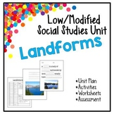 Low / Modified Landforms Unit-Includes Lesson Plan, Activities, Worksheets, Test