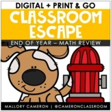 Print & Go Classroom Escape Room: End of Year - Math Review