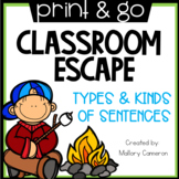 Print & Go Escape Room: Kinds and Types of Sentences