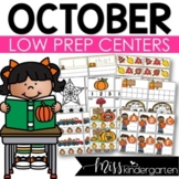 Low Prep October Centers   Math and Literacy Centers