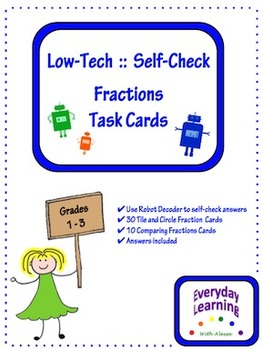 Low Tech Self Check Fraction Task Cards