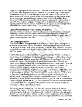 Low functioning speech and language report template