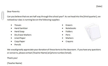 Low on Class Supplies Letter